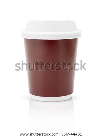 coffee paper cup to go isolated on white background with clipping path