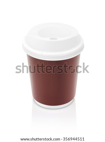coffee paper cup to go isolated on white background with clipping path - stock photo