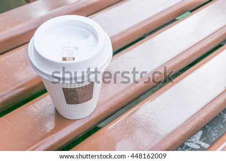 Coffee paper cup with heat protect texture - stock photo