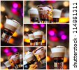 Coffee - party cocktails, Christmas background (shallow depth of field) - stock photo