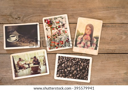 Coffee photo album on wood table. instant photo of classic film camera - vintage and retro style - stock photo