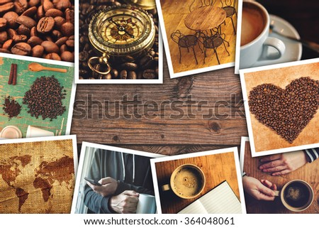 Coffee photo collage, stack of coffee drink themed polaroid pictures on wooden cafe table as copy space. - stock photo