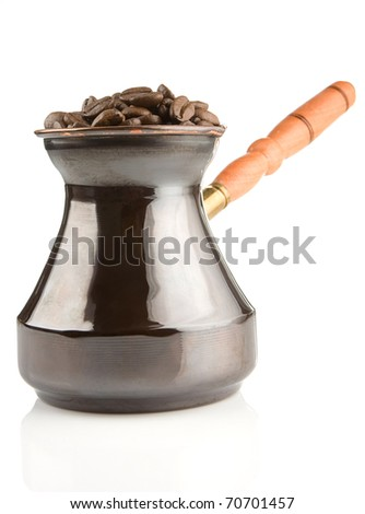 coffee pot and beans isolated on white background - stock photo
