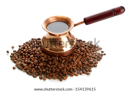 Coffee pot and coffee beans, isolated on white - stock photo
