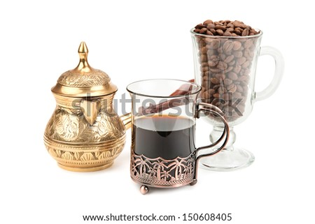 coffee pot and coffee beans isolated on white background - stock photo