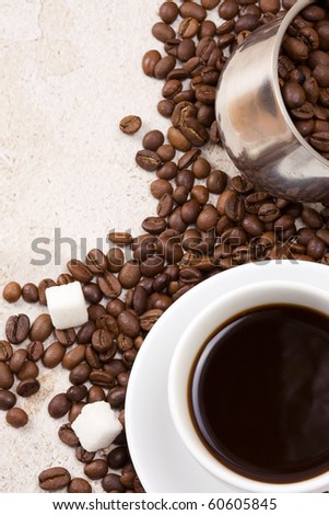 coffee pot, cup and sugar