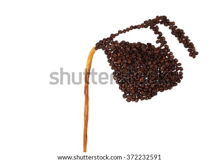 Coffee Pot Made of Coffee Beans Pouring Coffee