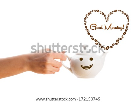 Coffee pot with coffee beans shaped heart with good morning sign, isolated on white - stock photo