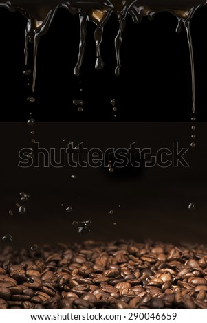 Coffee Pour On The Coffee Beans - stock photo