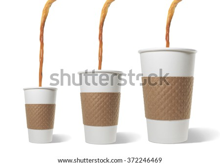 Coffee Poured into Three Sizes of Paper Cups - stock photo