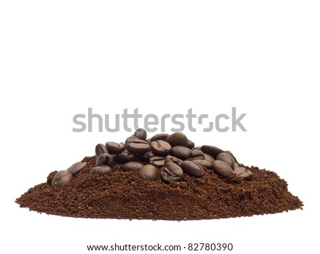 Coffee powder and beans isolated on white background - stock photo