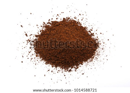 coffee powder isolated on white background.