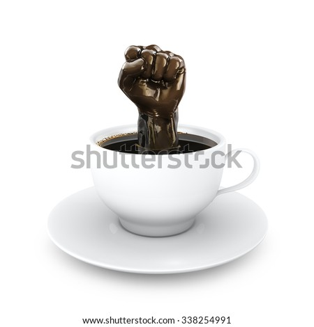 Coffee power to the people / 3D render of fist rising from cup of coffee