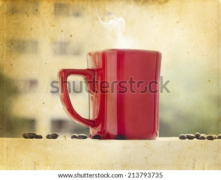 Coffee red cup on balcony in vintage - stock photo