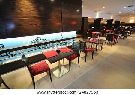 coffee restaurant indoor with luxury wooden furniture - stock photo