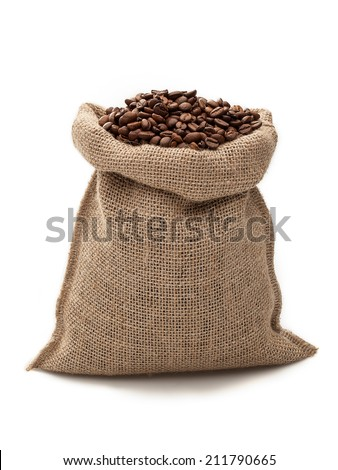 coffee sack on white background/ coffee beans/ coffee bag - stock photo