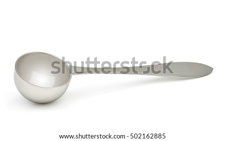 Coffee scoop with coffee beans isolated on white background including clipping path.