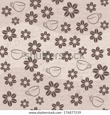 Coffee seamless background with cups and flowers. - stock photo