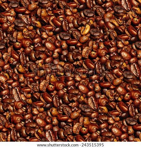 Coffee seamless pattern. - stock photo