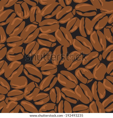 Coffee seamless pattern, background of coffee beans. Raster version. - stock photo