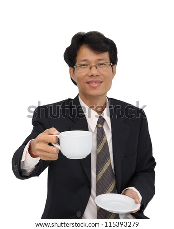 Coffee serving from business man focus at cup on white background.