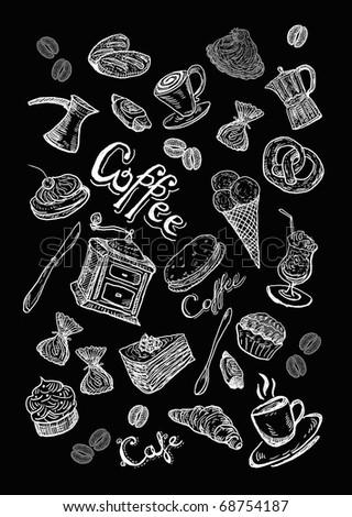 Coffee set  background - stock photo