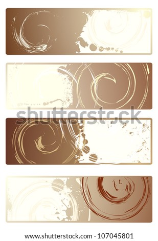 Coffee. Set of banners with grunge texture. Rasterized version of vector illustration - stock photo