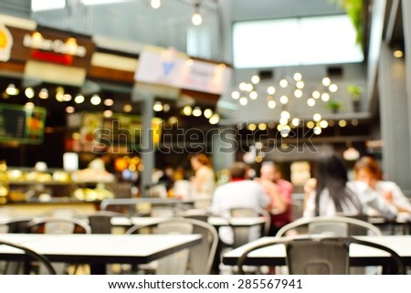 Coffee shop blur background with bokeh image . - stock photo