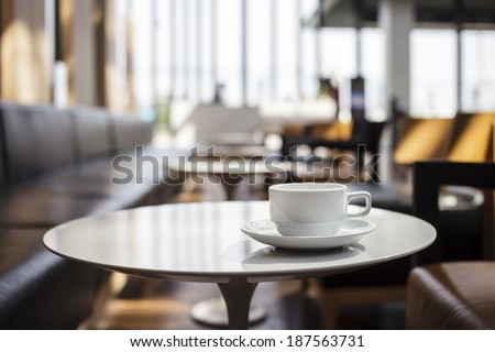 Coffee shop cafe Interior with table - stock photo