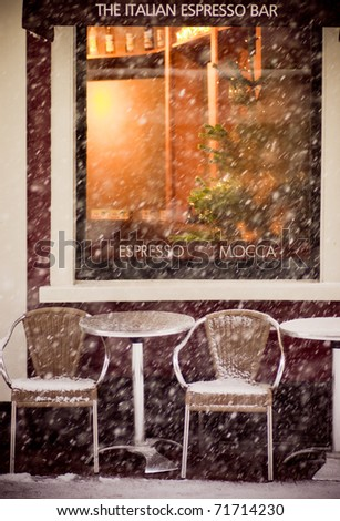 Coffee shop in Haarlem city during snowing - stock photo
