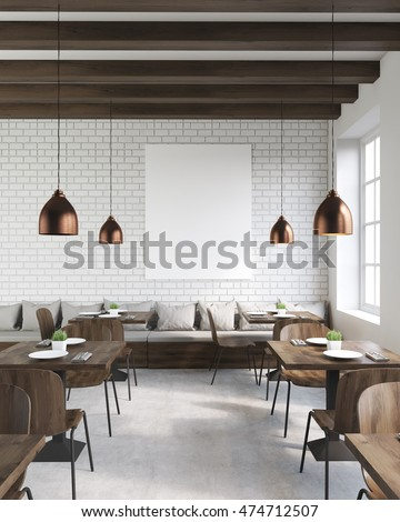 Coffee Shop Interior Wooden Tables Chairs Stock Illustration
