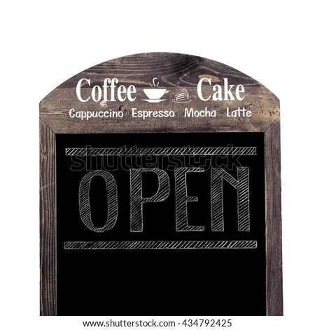 Coffee shop open sign isolated on white - stock photo