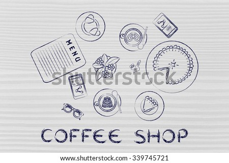 coffee shop: table with latte art cups, bakery and pie (flat illustration)