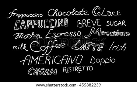 Coffee signs on black background. illustration. Hand drawn.