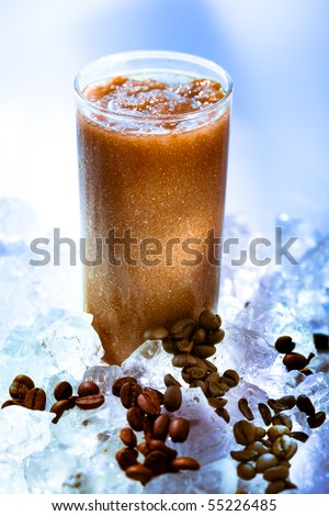 Coffee smoothie on the rocks - stock photo