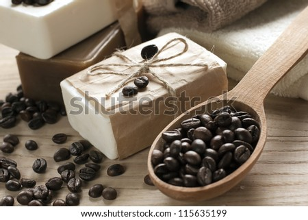 Coffee soap - stock photo