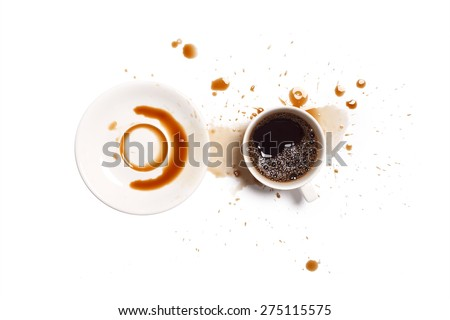 coffee spill stain accident drop white background - stock photo