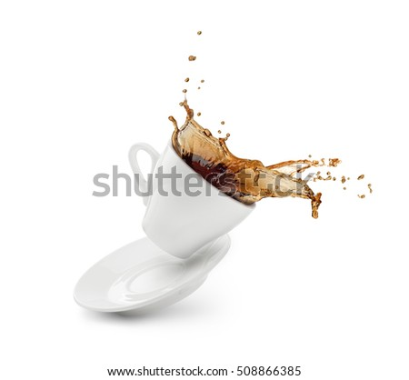 Coffee splash from a cup with plate isolated