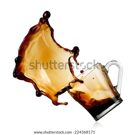 Coffee splash from a glass - stock photo