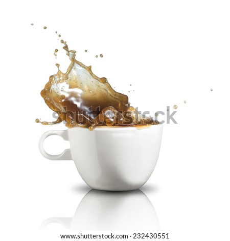 Coffee splash from coffee cup - stock photo