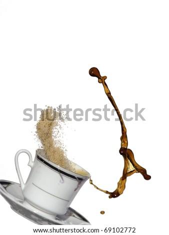 Coffee splash like key A with sugar - stock photo