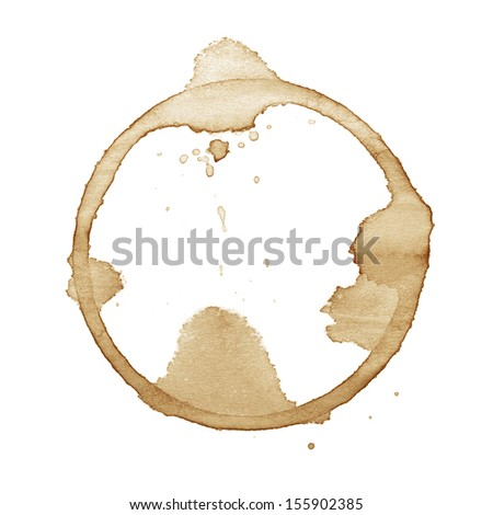 Coffee stain isolated on white background - stock photo