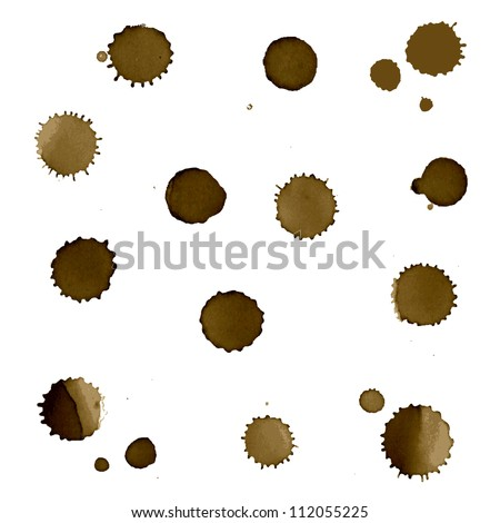 Coffee Stain Set, Isolated On White Background - stock photo