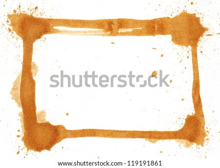 Coffee stained frame on white