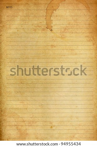 Coffee stained on old notes paper background - stock photo