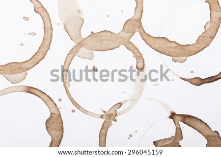 Coffee stains made with mug on white paper.