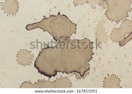 coffee stains on old kraft paper - stock photo