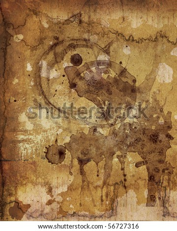 COFFEE STAINS ON THE OLD PAPER - stock photo