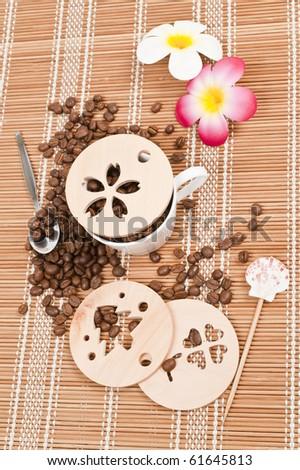 coffee stencil template - stock photo