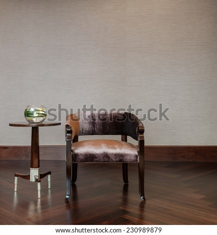 Coffee table chair combination in elegant setting - stock photo